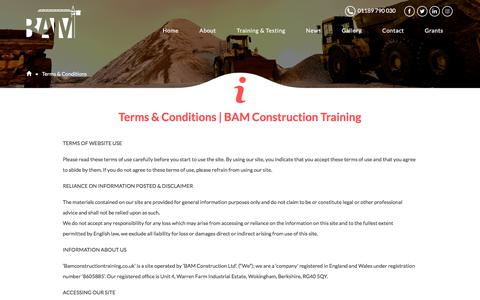 Screenshot of Terms Page bamconstructiontraining.co.uk - Terms & Conditions | CPCS Courses | BAM Construction Training - captured Sept. 22, 2017