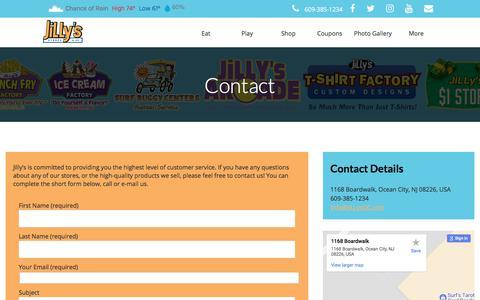 Screenshot of Contact Page jillysoc.com - » Contact - captured Oct. 16, 2017
