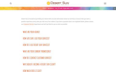 Screenshot of FAQ Page desertsuntanning.com - FAQ's — Desert Sun Tanning Salons - captured July 9, 2017