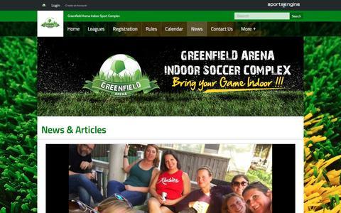 Screenshot of Press Page greenfieldarena.com - News & Articles - captured May 24, 2017