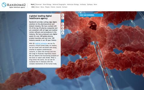 Screenshot of Home Page random42.com - Medical Animations by Random42 – The Art of Science - captured Sept. 19, 2014