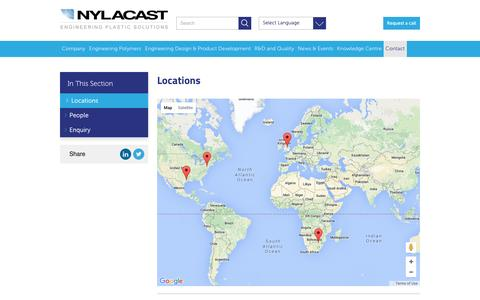 Screenshot of Locations Page nylacast.com - Locations | Nylacast - captured Jan. 11, 2016