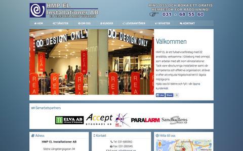 Screenshot of Home Page hmpel.se - HMP EL DIn elektriker i Göteborg Västra Frölunda Mölndal - captured Oct. 1, 2014