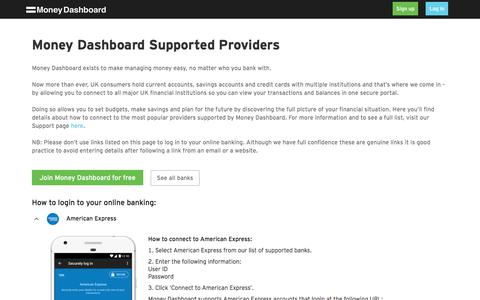 Help with online banking logins - Money Dashboard