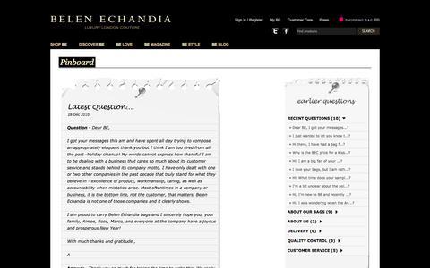 Screenshot of FAQ Page belenechandia.com - Bags, leather wallet, leather handbags, accessories  Handbag designer, Belen Echandia - captured Sept. 30, 2014