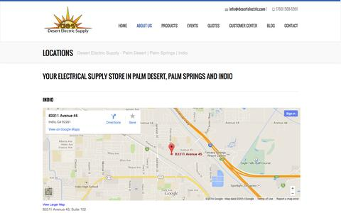 Screenshot of Locations Page desertelectric.com - Locations - Desert Electric Supply - Palm Desert - Palm Springs - Indio - captured Oct. 5, 2014