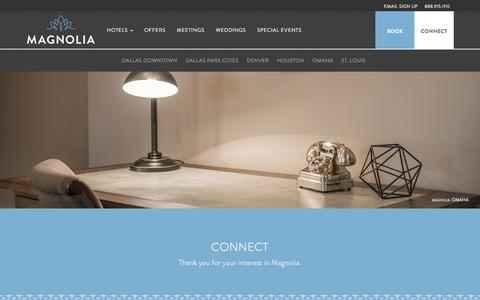 Screenshot of Contact Page magnoliahotels.com - Luxury Hotel Accommodations | Corporate Hotel Accommodations | Magnolia Hotels - captured May 27, 2017