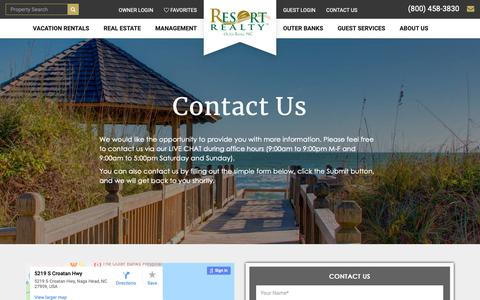 Screenshot of Contact Page resortrealty.com - Contact Us - Outer Banks, NC - Resort Realty - captured Dec. 12, 2018