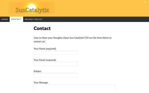 Screenshot of Contact Page suncatalytix.com - Contact - Sun Catalytix - captured May 9, 2017