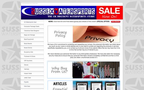 Screenshot of Privacy Page sussexwatersports.co.uk - Privacy Policy | www.sussexwatersports.co.uk - captured Sept. 30, 2014