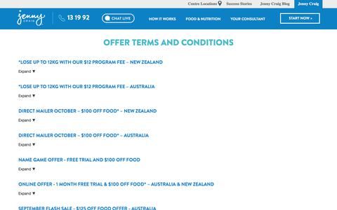 Screenshot of Terms Page jennycraig.com.au - Terms & Conditions | Jenny Craig - captured Oct. 16, 2017