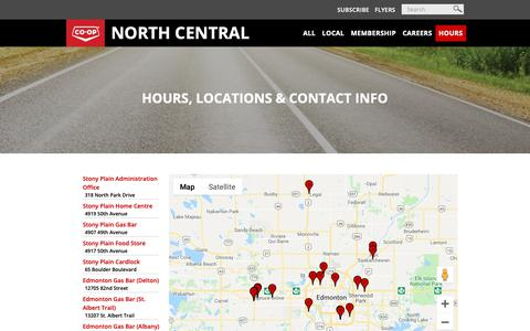 Screenshot of Contact Page Hours Page northcentralco-op.crs - Hours - captured Oct. 21, 2018