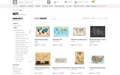 Screenshot of Maps & Directions Page art.com - Maps, Posters and Prints at Art.com - captured July 17, 2016