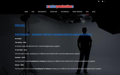 Screenshot of Pricing Page xanderproductions.com.au - pricing Xander Productions | film production and photography | servicing Illawarra, Sydney and beyond. - captured Sept. 21, 2018