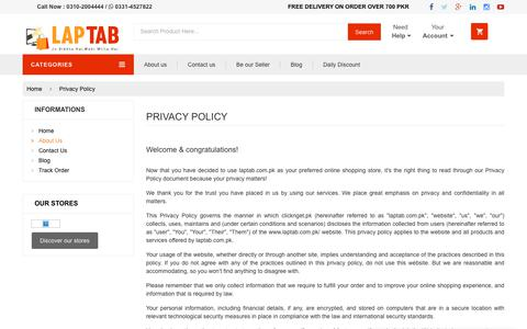Screenshot of Privacy Page laptab.com.pk - Laptab   Online Shopping in Pakistan - captured Sept. 27, 2018
