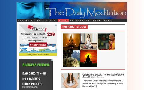Screenshot of Blog thedailymeditation.com - Articles on meditation for depression, anxiety, relaxation, stress and more - captured Oct. 30, 2014