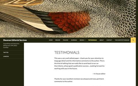 Screenshot of Testimonials Page shearsoneditorial.com - Testimonials | Shearson Editorial Services - captured Oct. 19, 2018