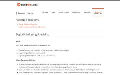 Screenshot of Jobs Page mindfirestudio.com - Join the MindFire Team - MindFire Studio - captured Oct. 7, 2014