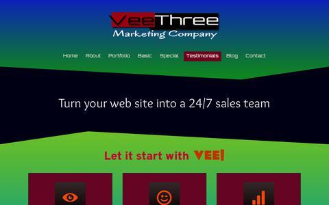 Screenshot of Testimonials Page veethreemarketing.com - Testimonials - Veethree Marketing - captured Oct. 19, 2018