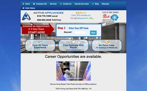 Screenshot of Jobs Page activeappliances.com - Career Opportunities - captured Jan. 22, 2016