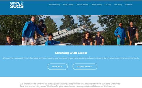 Screenshot of Home Page studentsuds.com - Student Suds - Window Cleaning, Gutter Cleaning, Pressure Washing, House Cleaning - captured Oct. 20, 2018
