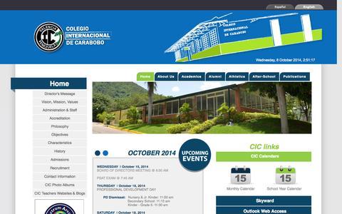 Screenshot of Home Page cic-valencia.org.ve - Colegio Internacional de Carabobo- Home - captured Oct. 8, 2014