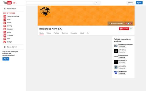 Screenshot of YouTube Page youtube.com - Musikhaus Korn e.K.  - YouTube - captured Oct. 31, 2014