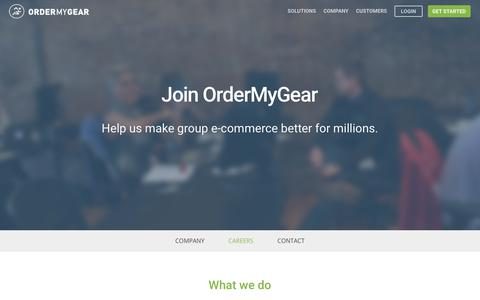 Screenshot of Jobs Page ordermygear.com - OrderMyGear - Join OrderMyGear - Help us make group e-commerce better for millions. - captured July 13, 2018