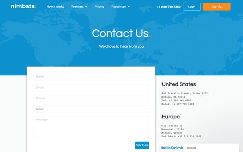 Screenshot of Contact Page nimbata.com - Nimbata says… - captured Feb. 17, 2020
