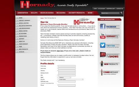 Screenshot of Signup Page hornady.com - Hornady Manufacturing Company :: Team Hornady Sign Up - captured Sept. 23, 2014