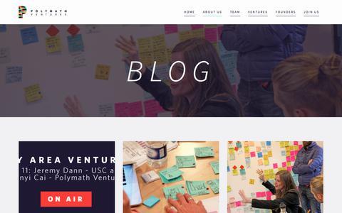 Screenshot of Blog polymathv.com - Blog - Polymath Ventures - captured June 23, 2017
