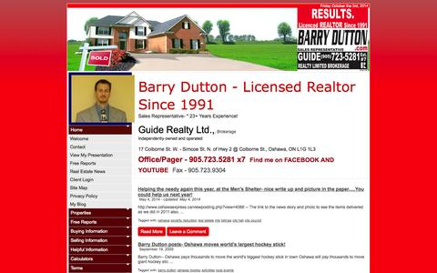 Screenshot of Blog barrydutton.com - Barry Dutton, Sales Representative :: Guide Realty Limited, Brokerage :: 905.723.5281 - captured Oct. 3, 2014