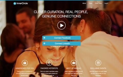 Screenshot of Home Page theinnercircle.co - Exclusive dating for attractive and inspiring singles - captured Jan. 27, 2016