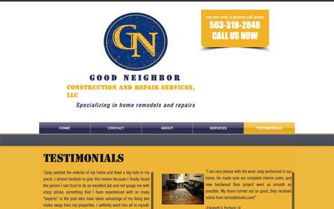 Screenshot of Testimonials Page goodneighborllc.com - Goodneighborllc | TESTIMONIALS - captured Sept. 29, 2018