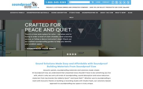 Screenshot of Home Page soundproofcow.com - Premium Soundproofing and Acoustic Solutions | Soundproof Cow - captured Sept. 4, 2016