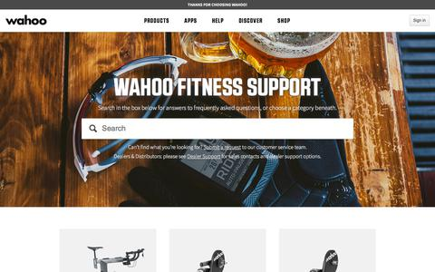 Screenshot of FAQ Page Support Page wahoofitness.com - Wahoo Fitness Support - captured Nov. 28, 2019
