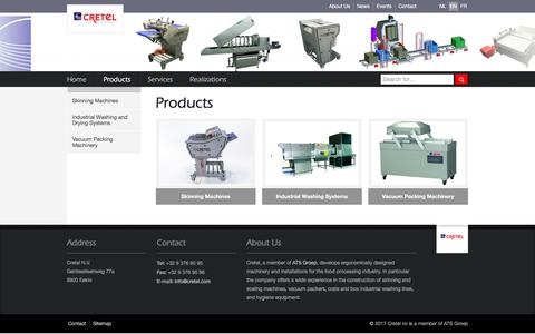 Screenshot of Products Page cretel.be - Products |  Cretel nv - captured Oct. 6, 2017