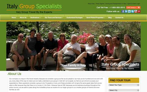 Screenshot of About Page italygroupspecialists.com - About Italy Group Specialists - captured Sept. 30, 2014