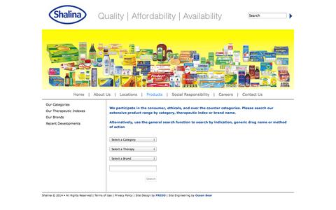 Screenshot of Products Page shalinahealthcare.com - Shalina Healthcare - captured Oct. 26, 2014