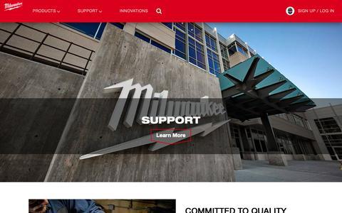 Screenshot of Support Page milwaukeetool.com - Customer Support & Service Center   Milwaukee Tool - captured Feb. 1, 2019