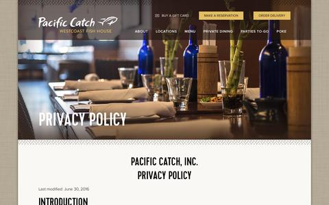 Screenshot of Privacy Page pacificcatch.com - Privacy Policy | Pacific Catch - captured March 9, 2017