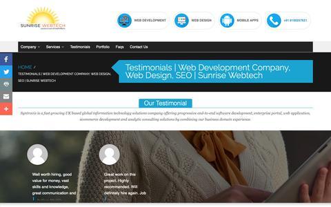 Screenshot of Testimonials Page sunrisewebtech.com - Testimonials   Web Development Company, Web Design, SEO   Sunrise Webtech - captured Nov. 7, 2018