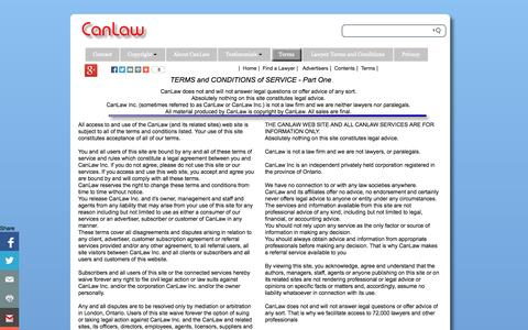 Screenshot of Terms Page canlaw.com - CanLaw Terms governing use of this site and CanLaw services | CanLaw - captured Sept. 19, 2014