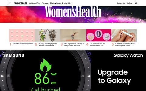 Screenshot of Home Page womenshealthmag.com - Women's Health - Fitness, Nutrition, Sex, and Weight Loss Tips for Women - captured Nov. 3, 2018