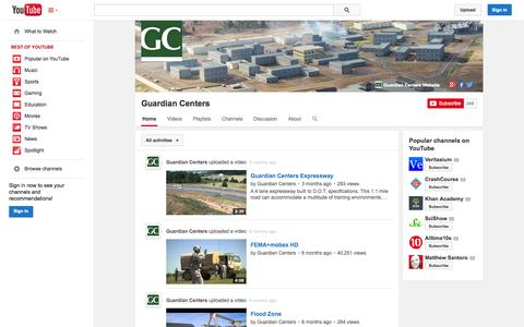 Screenshot of YouTube Page youtube.com - Guardian Centers  - YouTube - captured Oct. 23, 2014