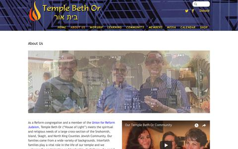 Screenshot of About Page templebethor.org - About Us - Temple Beth Or - captured Sept. 20, 2018