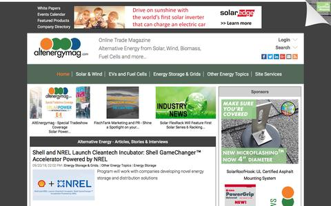 Screenshot of Home Page altenergymag.com - Alternative Energy Stories, Videos, Articles, Interviews, Reviews & News  | AltEnergyMag - captured Sept. 23, 2018