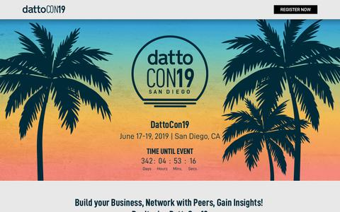 Screenshot of Home Page dattocon.com - DattoCon 2019 - captured July 10, 2018