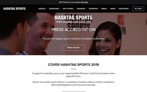 Screenshot of Press Page hashtagsports.com - Press Accreditation | Hashtag Sports - captured July 16, 2018