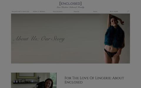 Screenshot of About Page theenclosed.com - About Our Lingerie Gift Service. Gifts For Women |Enclosed - captured Jan. 29, 2016